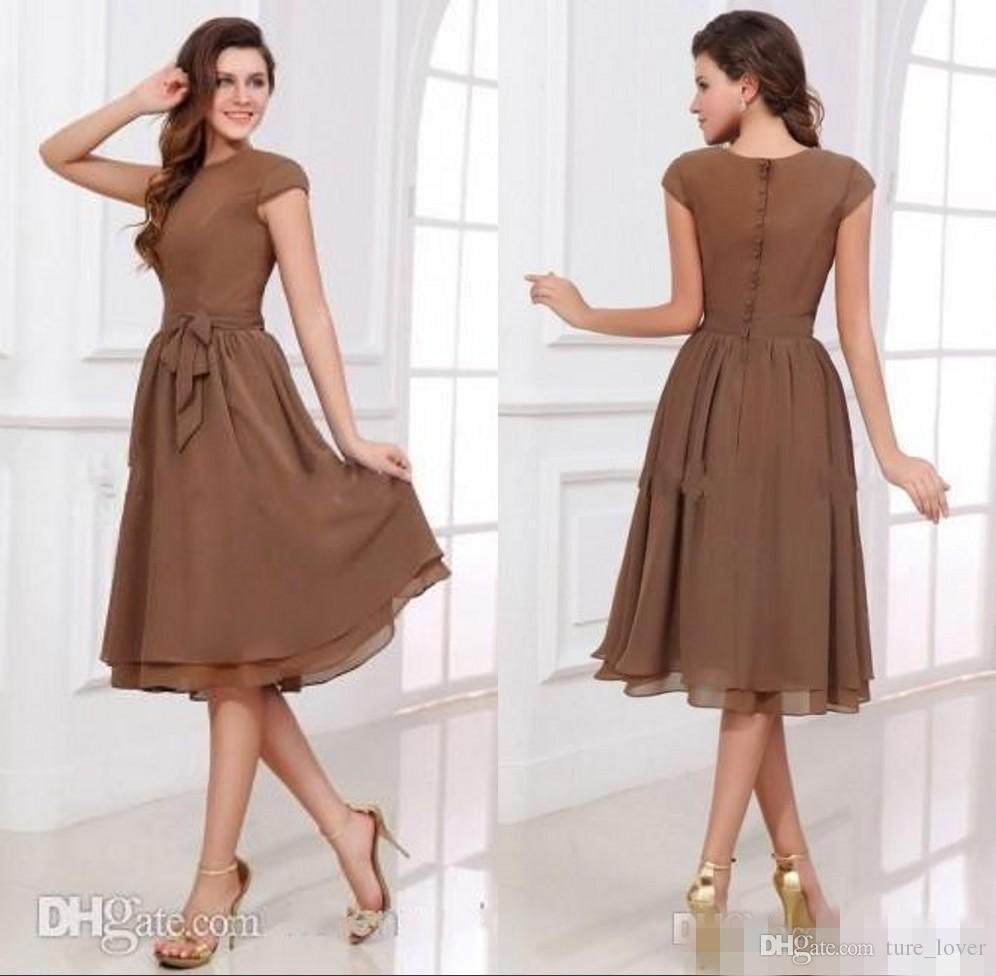 Simple Modest Short Chiffon Cheap Bridesmaid Dresses Short
