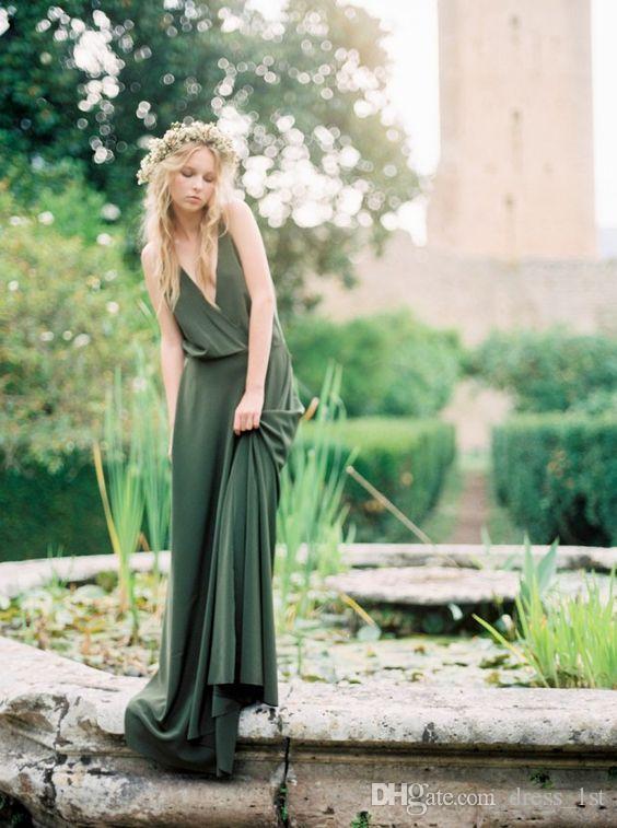 Bohemian Olive Green Chiffon Land Brautjungfernkleider 2019 New Günstige Spaghetti Low Cut Back Lange Trauzeugin Kleider Kleider für Hochzeiten