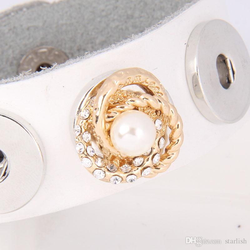 Wholesale 18MM 20MM Gold Plated Metal Rhinestone Pearl Ginger Snap Buttons Fit For Noosa Charms DIY Jewelry