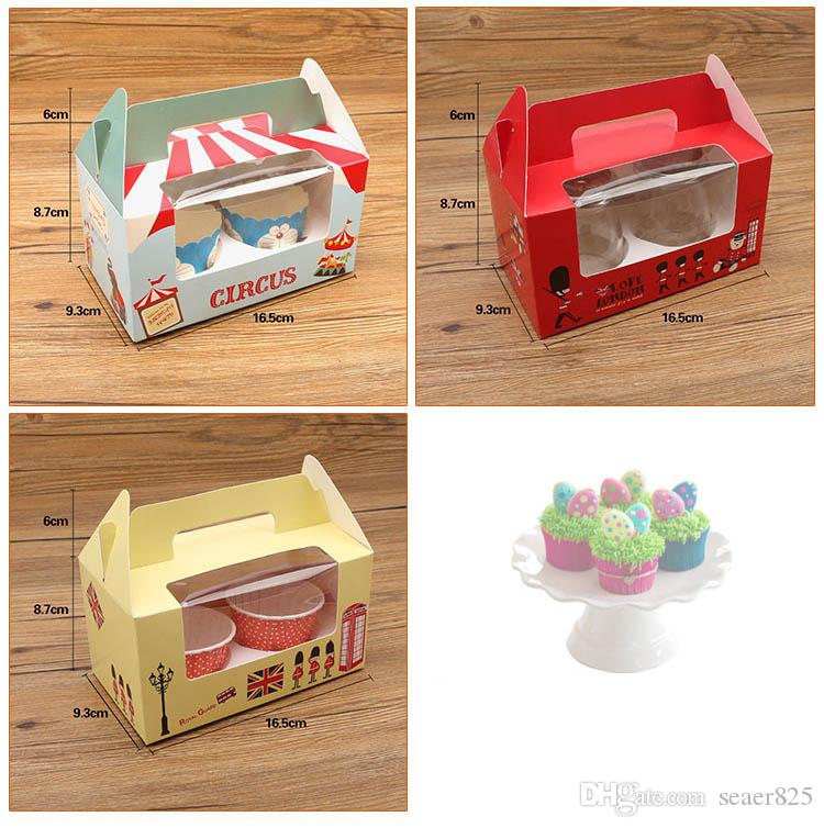 British London soldier circus cupcake boxes handles with window kraft paper Cake box 2 Cup Cake Holders 14.7x16.5x9.3cm