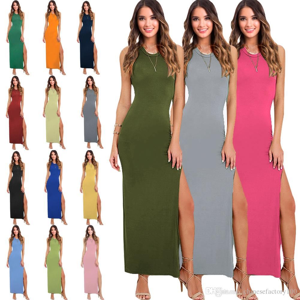 Both Sides Of The Slit Long Dress Vest Party Sexy Fashion Woman ...