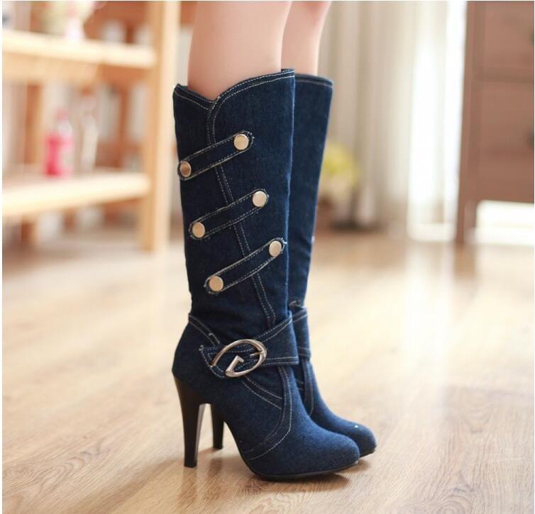 Plus Size 2019 New Sexy Denim Boots Cowboy Boots For Women Punk Fashion High Heel Boots Ladies Chaussure Femme Botte NXZ166