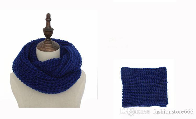 Women Winter fashion knit warm ring scarf Hoops 2 Circle Crochet Knit Neck Long Scarf Shawl Muffler red yellow black white gray