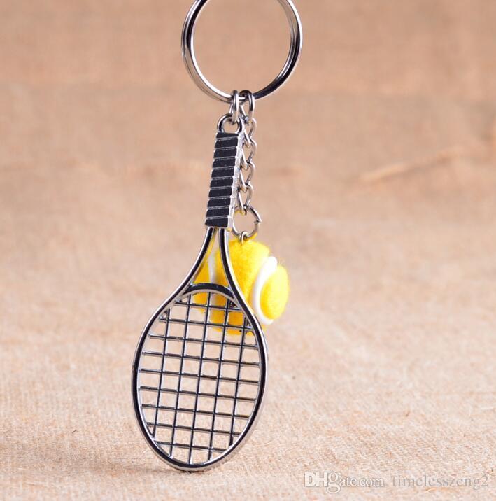 Racchetta da tennis in argento con portachiavi a pallina Portachiavi a pallina da tennis multicolore Accessori da tennis appassionati di tennis