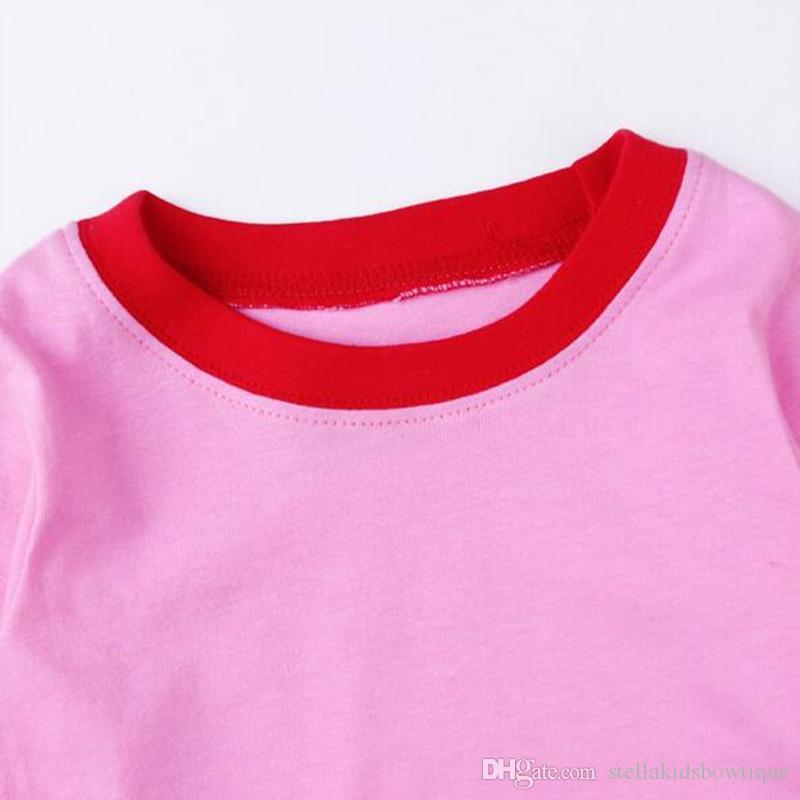Pink Red White Polka Dots Child Christmas Pyjamas Sets Santa Claus Girls Ropa de dormir Ropa de ajuste Baby Toddler Top Pants Set