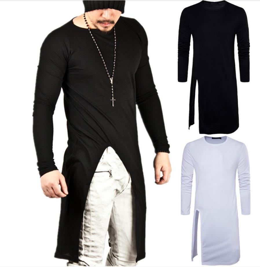 긴 T - 셔츠 남자 2018 분할 디자인 솔리드 컬러 남성 긴 Tshirts 무료 배송 긴 소매 O 목면 남성 스포츠 T 셔츠 엉덩이 팝 2017