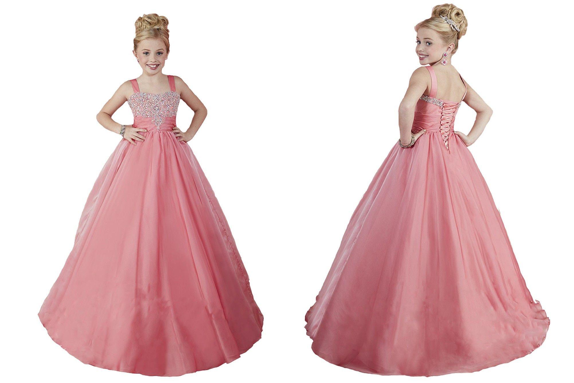 Compre Sweet Pink Little Girls Vestidos De Desfile De Cuentas Por ...