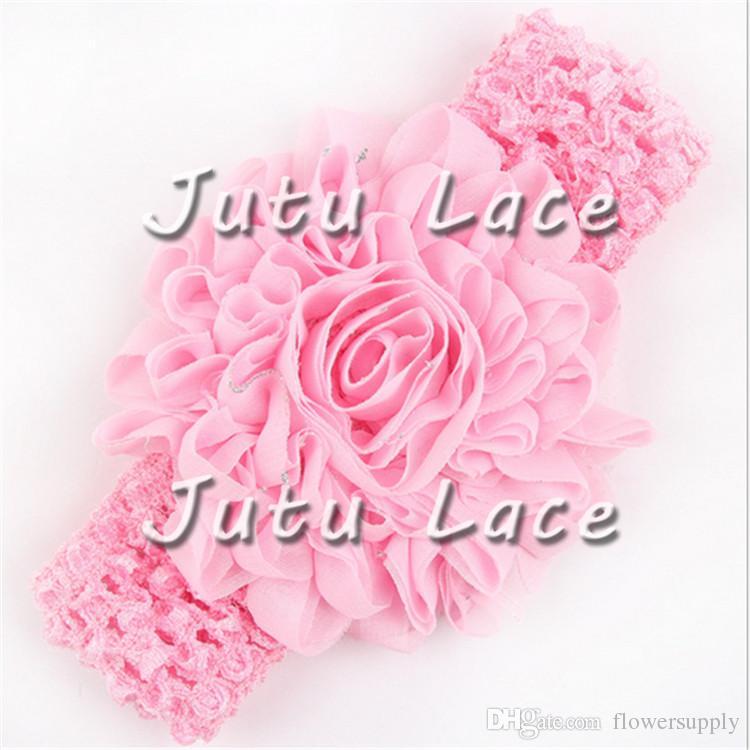 3 inch glitter shabby sunflower headwear, Chiffon lace flower trimmings, shabby rose flower ribbon flower trim, sale by yard