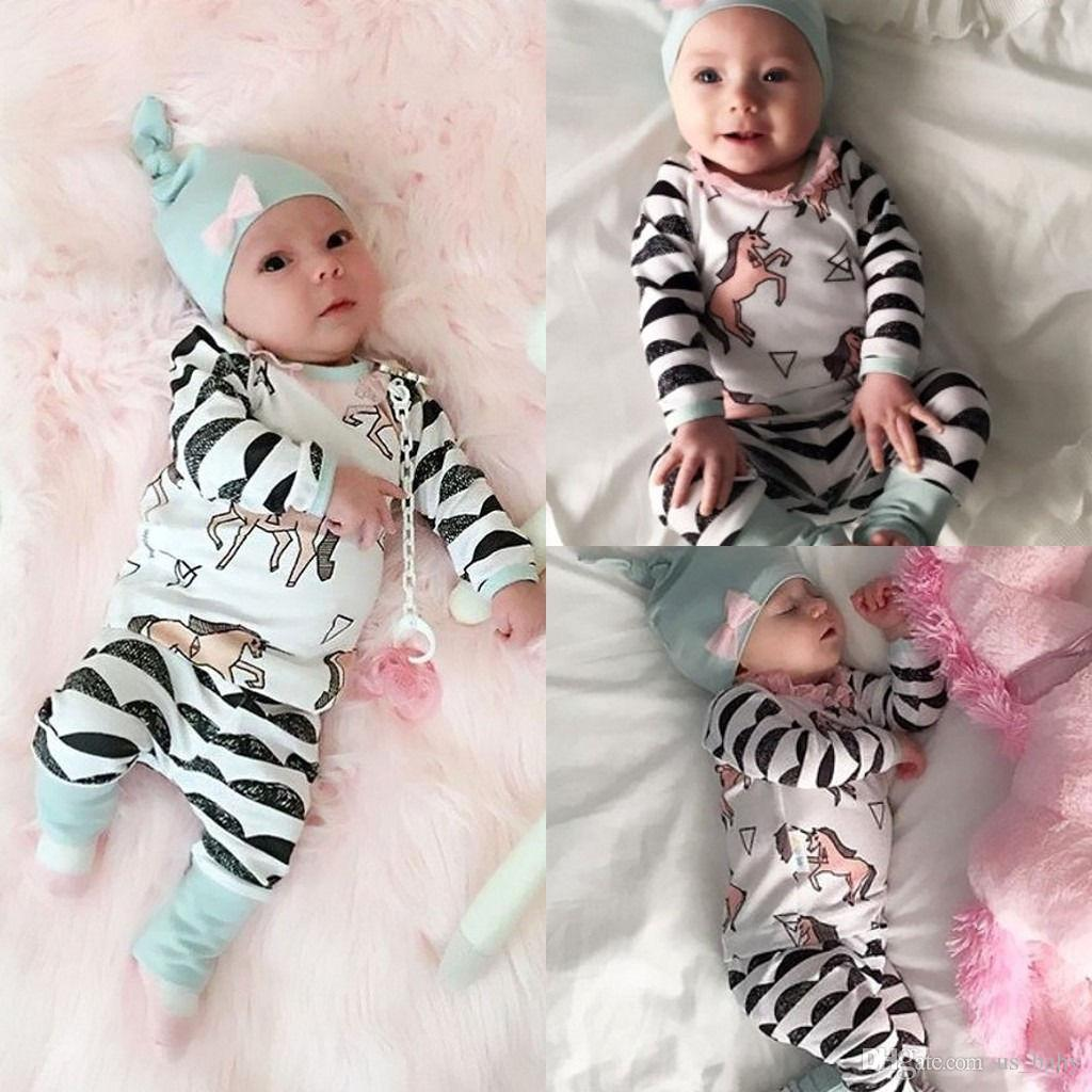 c00d2dad7 2019 Baby Cute Sets Newborn Boy Girl Horse Print Outfit Long Sleeve ...