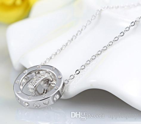 925 sterling silver woman jewelry pendants necklaces diy white gold circle heart love slider crystal cross chains diamante fashion 43cm