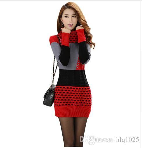 eb40be33ce9 Women Fall Winter Turtleneck Long Sleeve Sweater Dress Polka Dot Plus Size Women  Dress Yellow T Shirt Dress Dress For Womens From Hlq1026