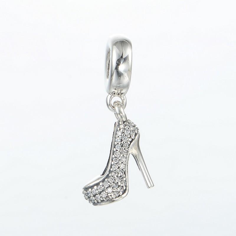 Serve para pandora Encantos Pulseira Authentic original 925 Sterling Silver Bead Stiletto Dangle Charme Com Cubic Zirconia Mulheres DIY Fazer Jóias