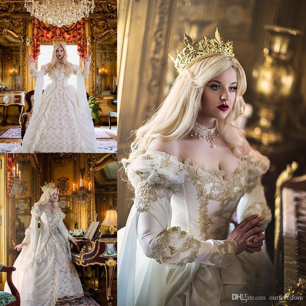 Vintage Medieval Celtic Wedding Dress 2016 Custom Made Off The Shoulder Castle Church Gold Applique New Empire Fairy Bridal Gown Hot Sale Ball For: Cheap Meval Wedding Dresses At Websimilar.org