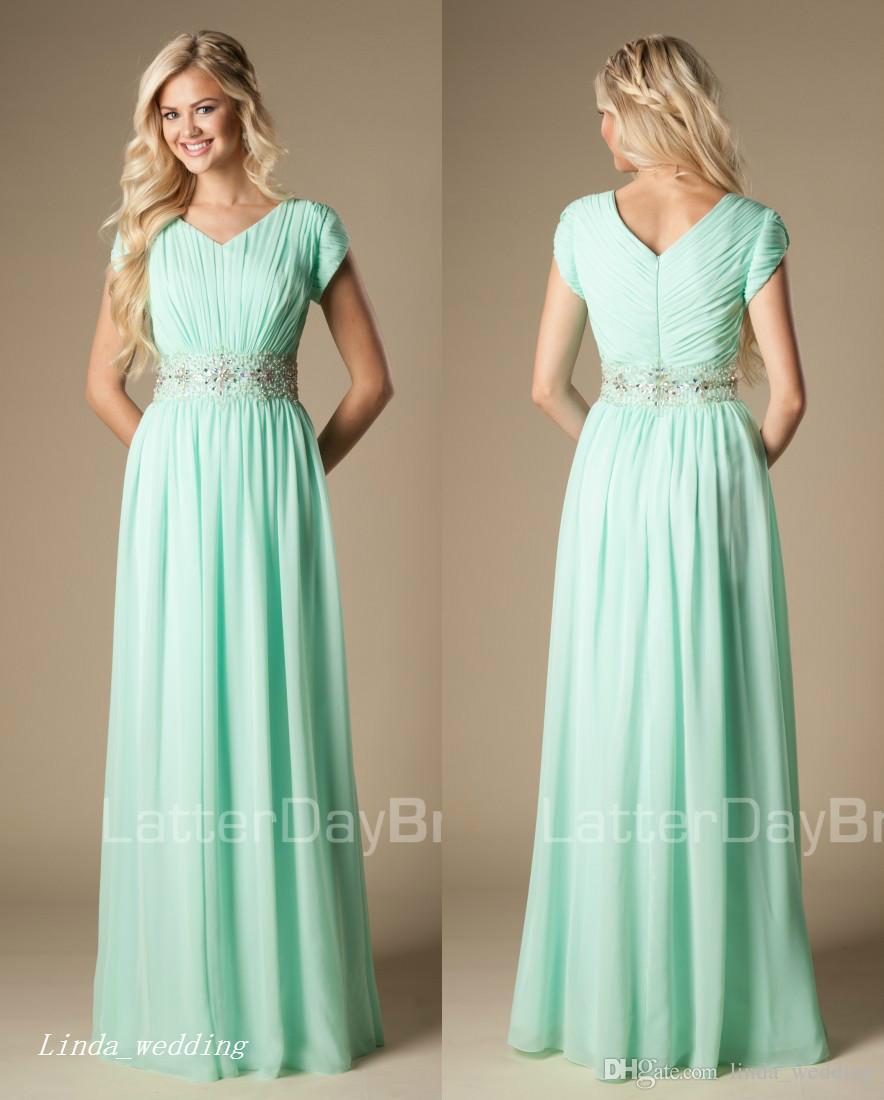 2017 Mint Green Bridesmaid Dress Modest Chiffon Beaded Floor Length Long  Country Bridal Party Dress Plus Size Vestiti Cerimonia Damigella Watters  Bridesmaid ... 4f54d902b9c7