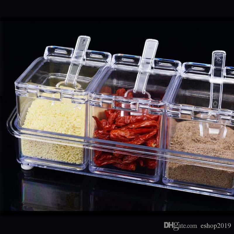 In1 Acrylic Seasoning Box Clear Seasoning Rack Spice Pots Storage Container Condiment Jars Cruet with Cover and Spoon Kitchen essential