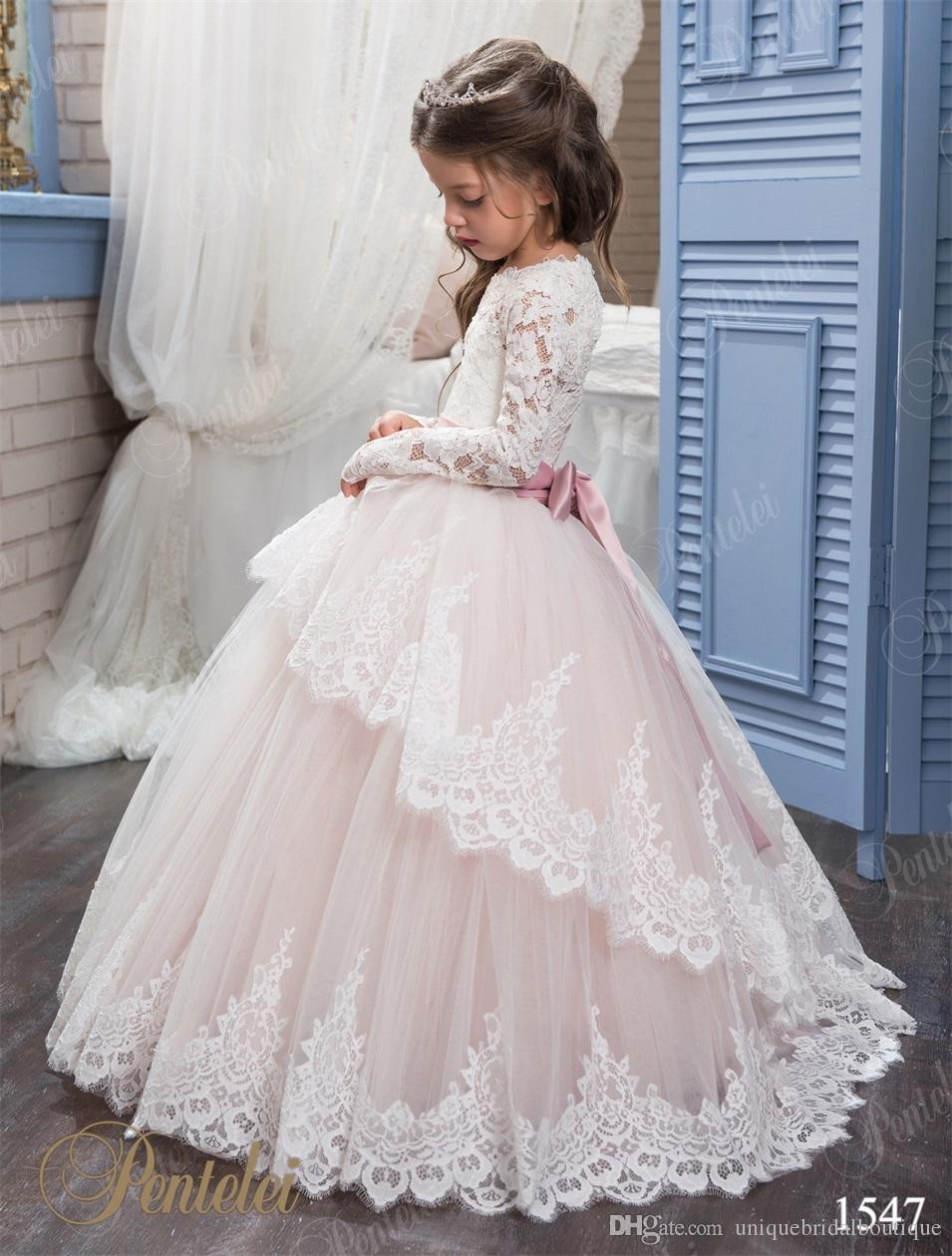Barato vestidos das meninas de flor pentelei com mangas compridas e rendas até voltar apliques de tule pequena princesa vestidos de aniversário vestido de comunhão