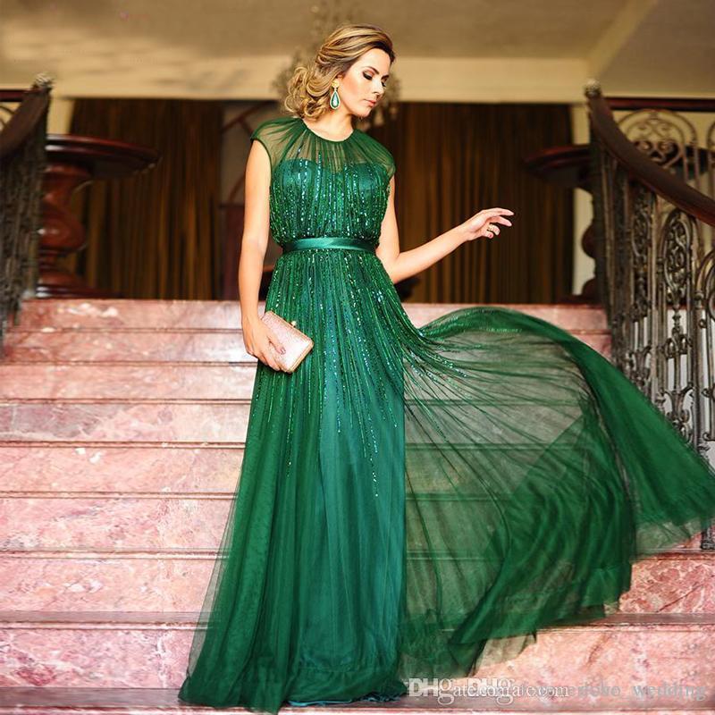 new concept b5013 2b014 Abiti da sera verde smeraldo A-Line Paillettes Chiffon Piano Lunghezza  gioiello Sheer Neck Prom Dresses Party Gown abiti festa con Satin Sash