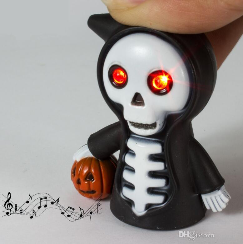 Wholesale Super Funny! Red LED Halloween Pumpkin Death Skull Action Figure Toys With Sound Keychains Kids Gift