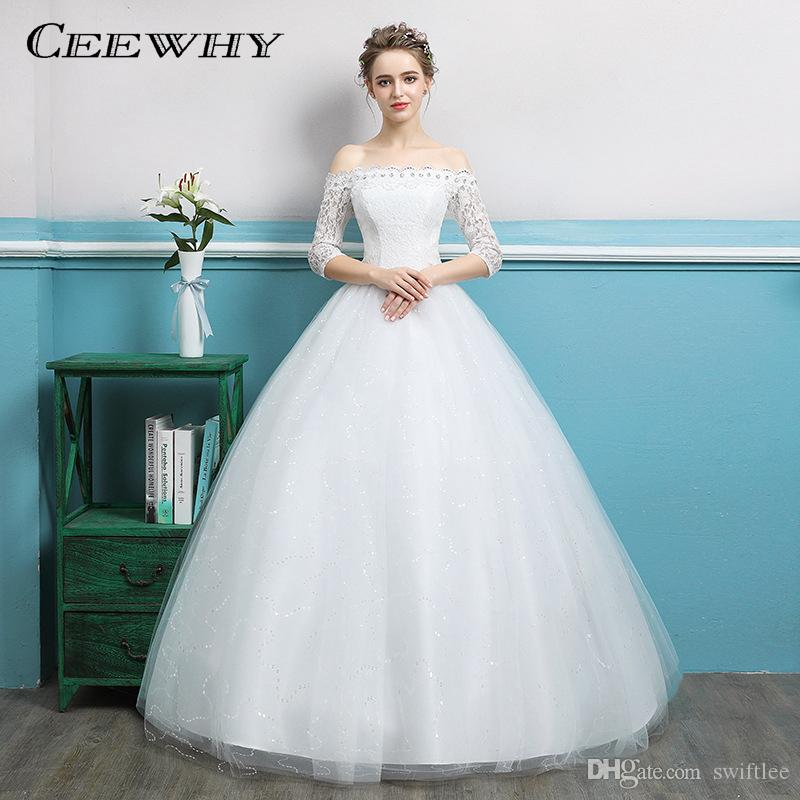 Ceewhy Boat Neck Half Sleeve Ball Gowns Lace Wedding Dresses Back ...