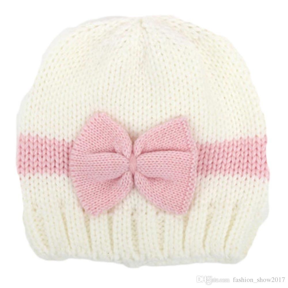 Baby Girl Boy Newborn Hat Photo Prop Baby Knit Cap Knit Cable Hat Infant Beanie Hat Bows With Beanies