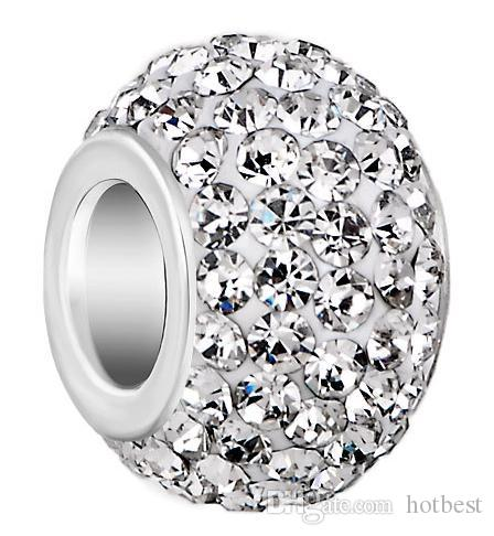10mm  12mm White Mixed Color Rhinestone Silver Plated Resin Core Big Hole  Crystal European Beads 50458373f8ae