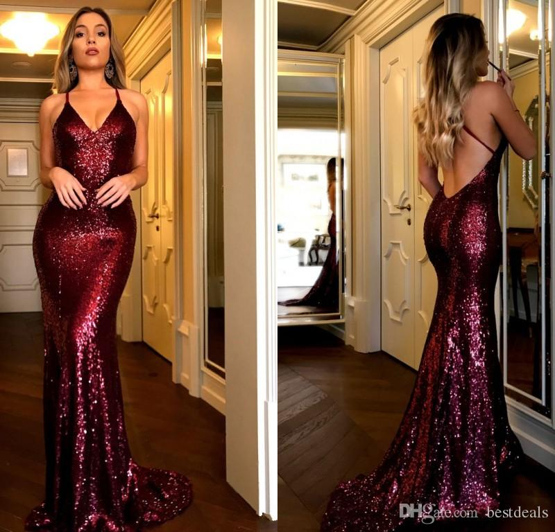 2ea373ca2f4 Burgundy Sequined Mermaid Prom Dresses 2018 Sexy Deep V Neck Backless Party Dresses  Evening Wear Women Party Gowns Size 16 Prom Dresses Size 18 Prom Dresses ...