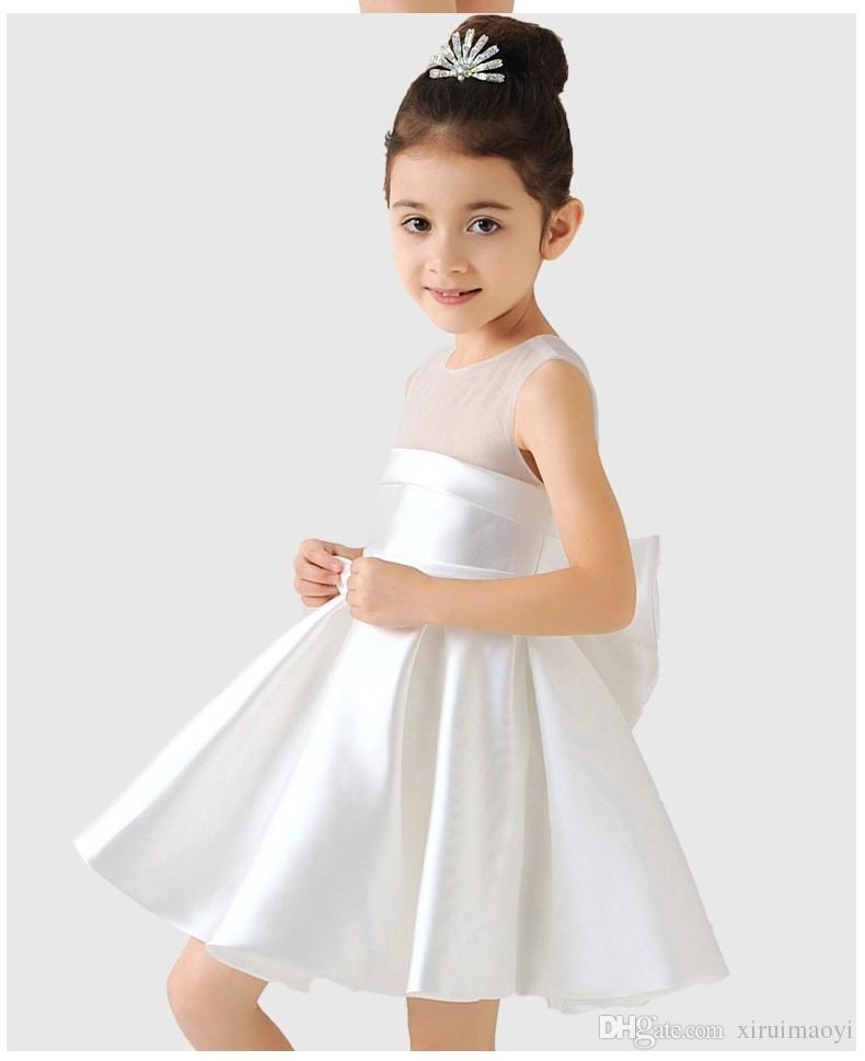 Elegante cetim flor menina vestidos grande festa de arco vestido de concurso para casamento aniversário meninas meninas vestido de bola 3 cor 2-12Y