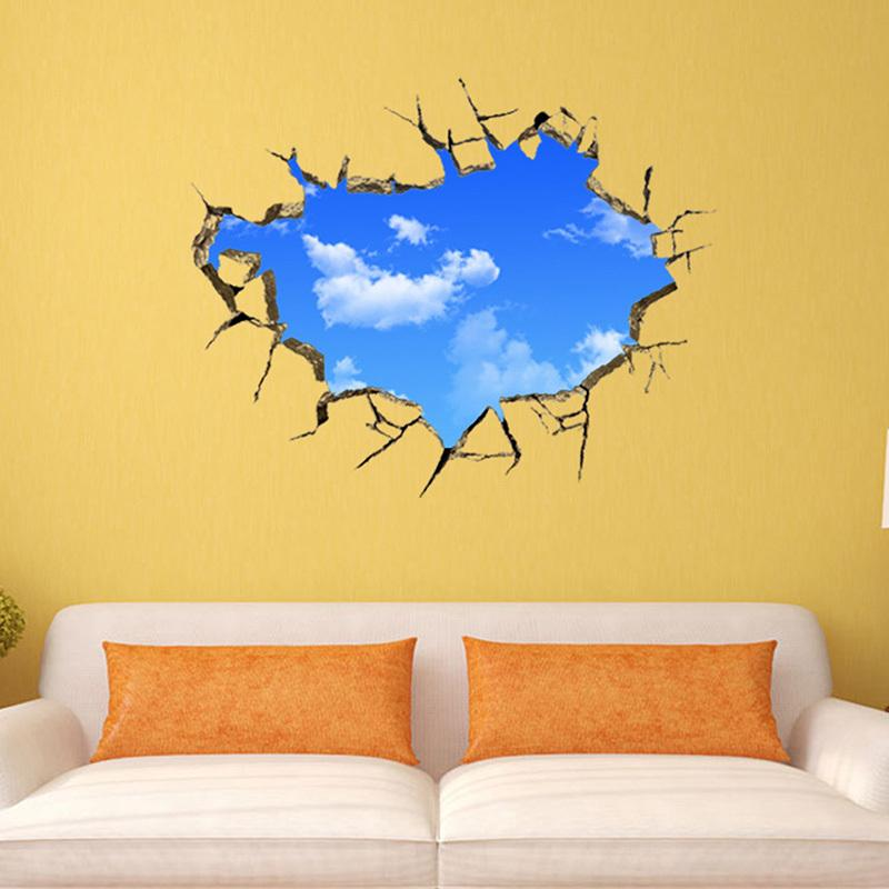3D Stereo Blue Sky And White Cloud Vinyl Wall Stickers for Kids ...
