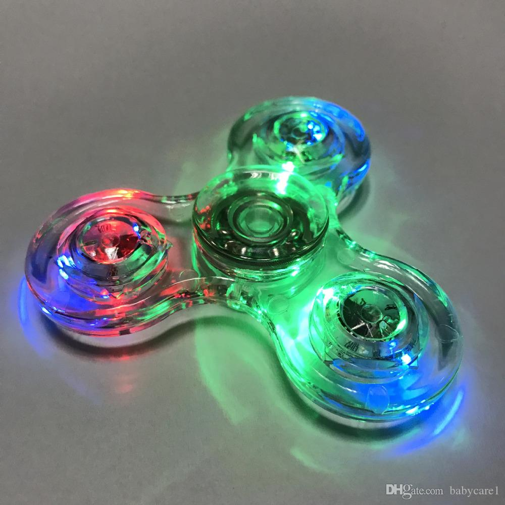 New Tri-Spinner Transparent LED Light Spinner Crystal Plastic EDC Switch Finger handspinner Autism Relief Anxiety Stress Toys