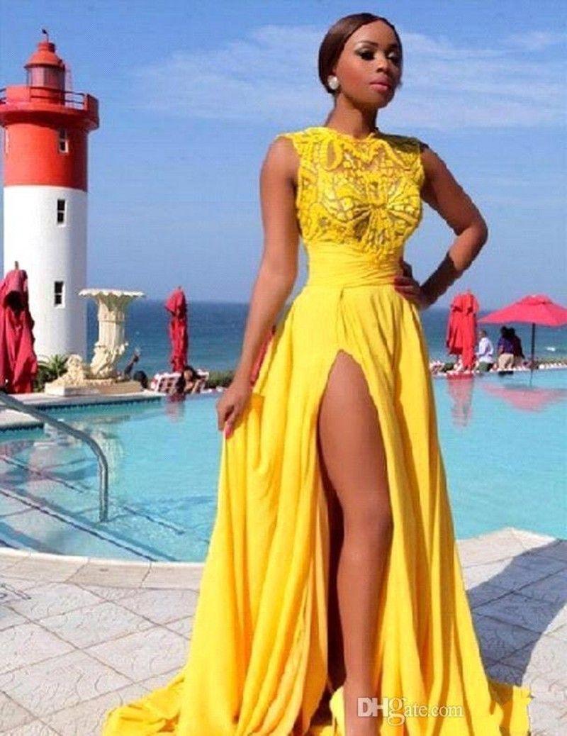 Brilhante Amarelo Prom Vestidos Side Dividir Chiffon Lace Apliques Dubai Evening Vestidos 2019 Sheer Sexy Vestidos de Festa