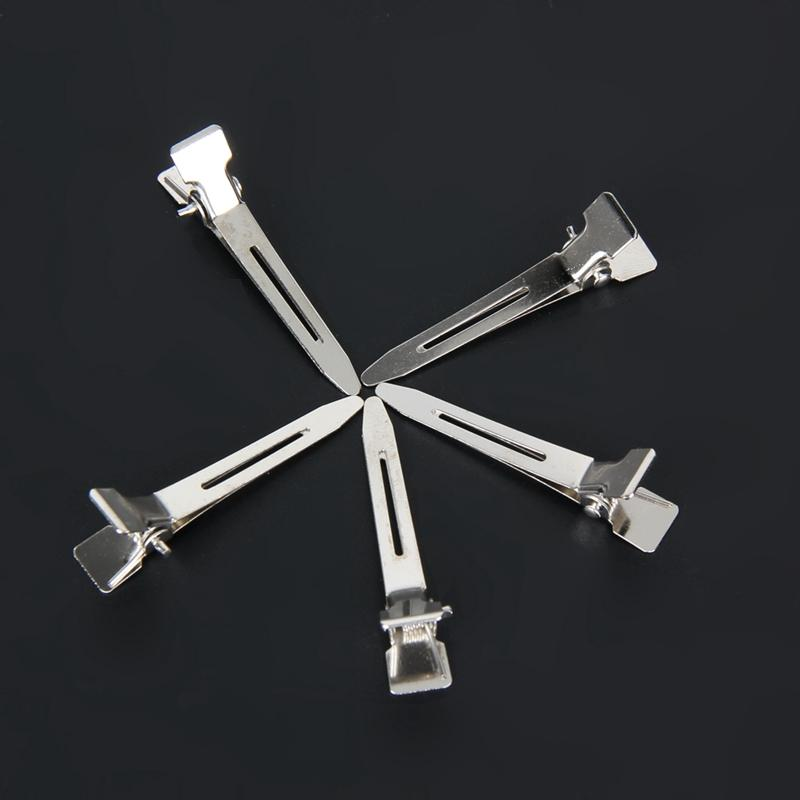 Silver Flat Metal Single Prong Hair Clips Hair Stainless Steel Hairdressing Sectioning Clips Clamp for Styling Tools