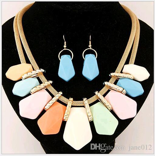 Luxury Chunky Statement Necklace Earring Bib Za Layers European American Candy Color Resin Stone Jewelry Necklaces Sets for Sale