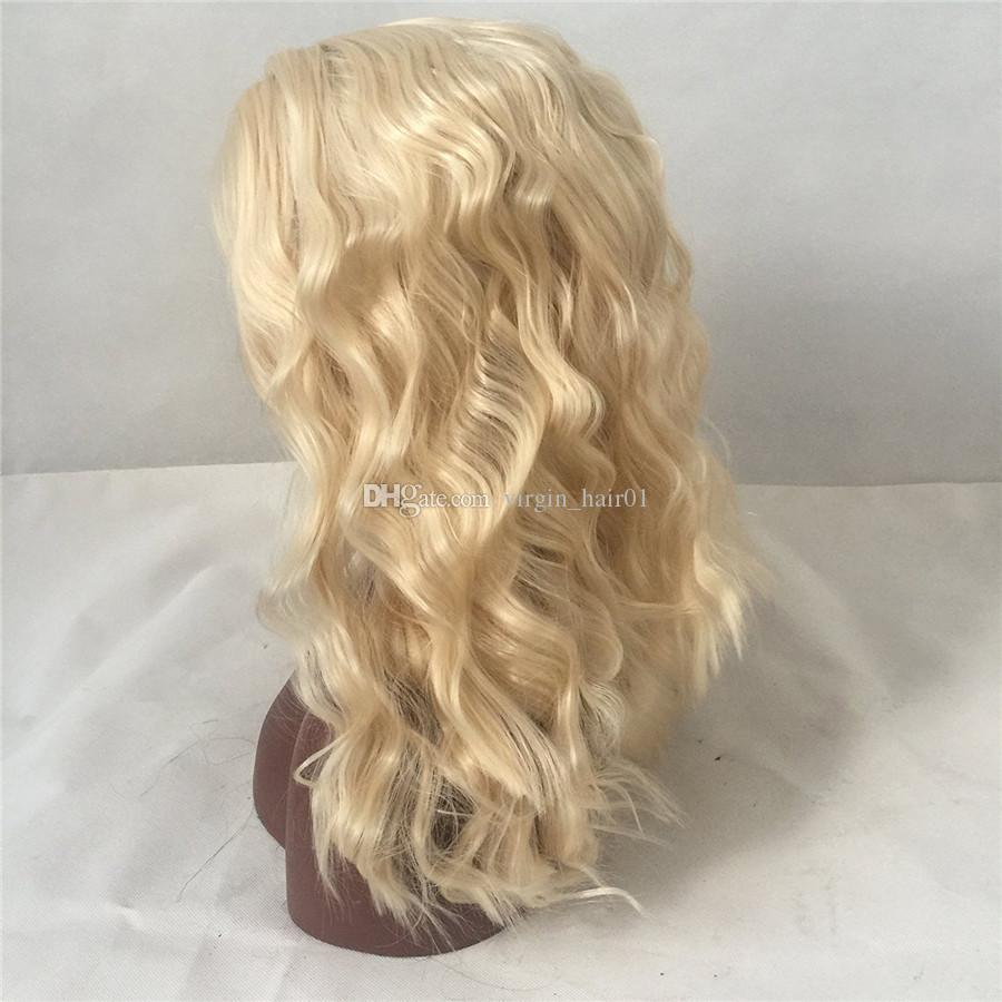 #613 Blonde Color Full Lace Wigs Vrigin Brazilian Hair Blonde Lace Front Wig Body Wavy Human Hair Wig With Baby Hair