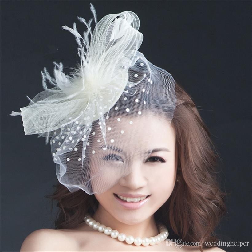Cheap White Feather Lace Bridal Hats Discount White Birdcage Bridal Hat 72444504fd4