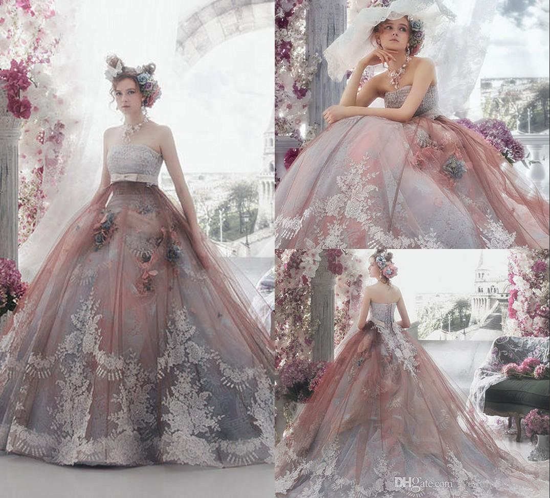 Different Colour Ball Gown Long Wedding Dress With Sash Sleeveless ...