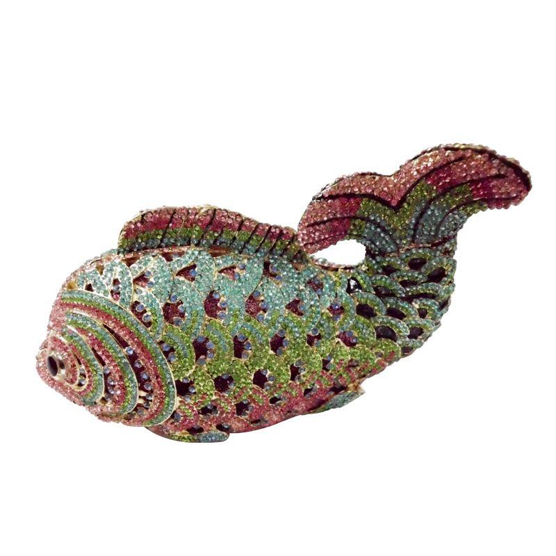 Luxury crystal evening bags handmade fish shape Clutch bags women party purse pochette diamond party evening handbag