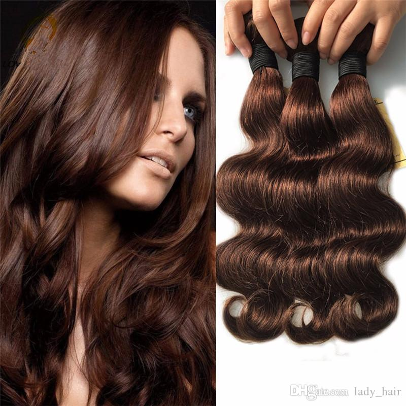 7a Peruvian Dark Brown Human Hair Pure 4 Chocolate Brown Color