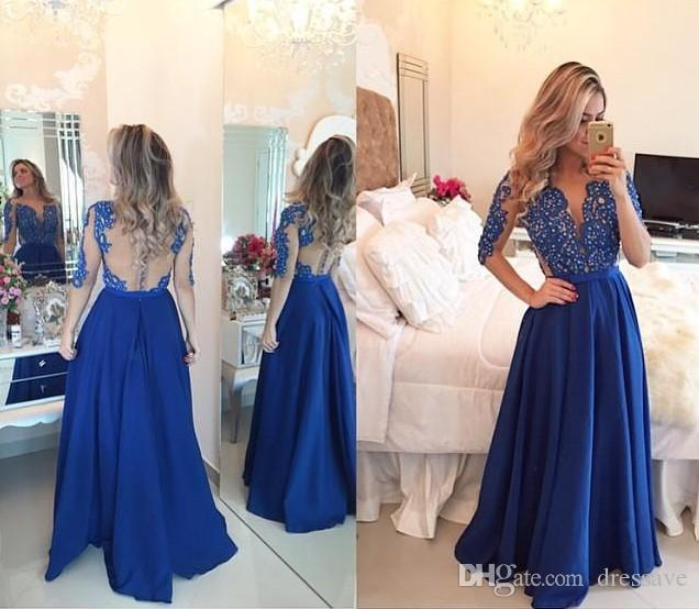 2017 Royal Blue Prom Party Dresses Cheap Chiffon A Line Sheer Jewel with Long Sleeves Lace Pearls Mesh Back Floor Length Evening Gowns