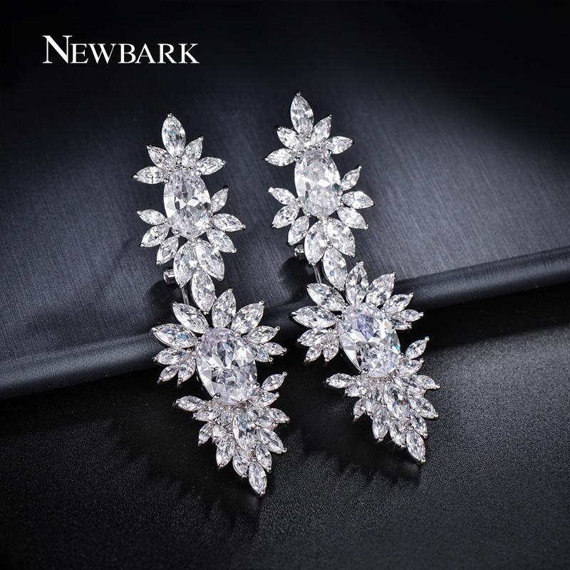 NEWBARK Silver Color Zirconia Long Clip Dangle Earrings Women Oval CZ Leaf  Cluster Pendant Earrings Party Jewelry Gifts Q170720 High Quality Dangle  Earri ... 2d34d68dc050