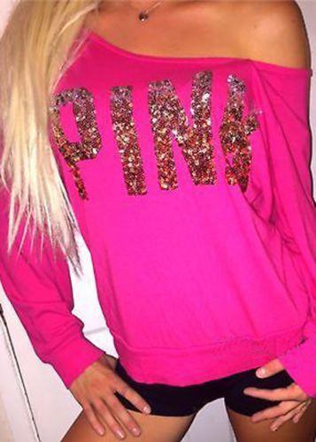 Sexy Girls pink Letter Hoodies Women Pullover Loose Sweatshirts Pullover Tops Long Sleeve Crop Tops Shirt Tees Girls Sweatshirt Female