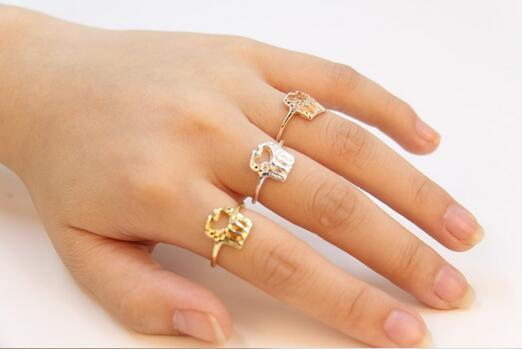 Fashion latest style 18k gold plated silver plated ring Animal ring Two giraffes rings for women wholesale