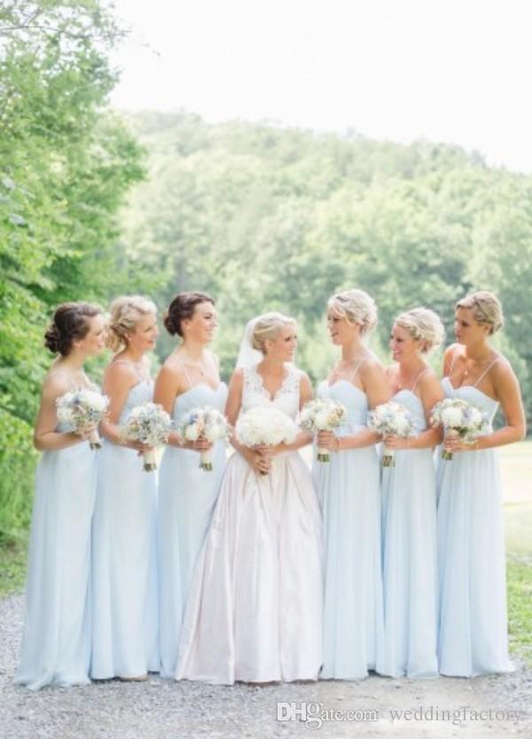 저렴 한 고품질 Bridemaids Line Sweetheart 목 스파게티 스트랩 신부 들러리 긴 드레스 해변 정원 결혼식 파티 공식 가운
