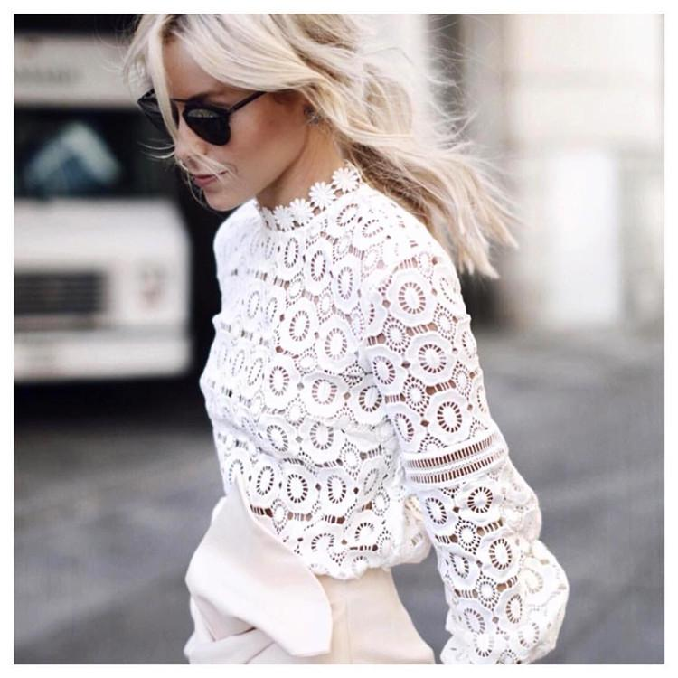 Women white lace flower crochet shirt tops round neck lantern sleeve women white lace flower crochet shirt tops round neck lantern sleeve womens hollow lace blouse autumn 2016 new aarrive high quality lace blouse blouses mightylinksfo