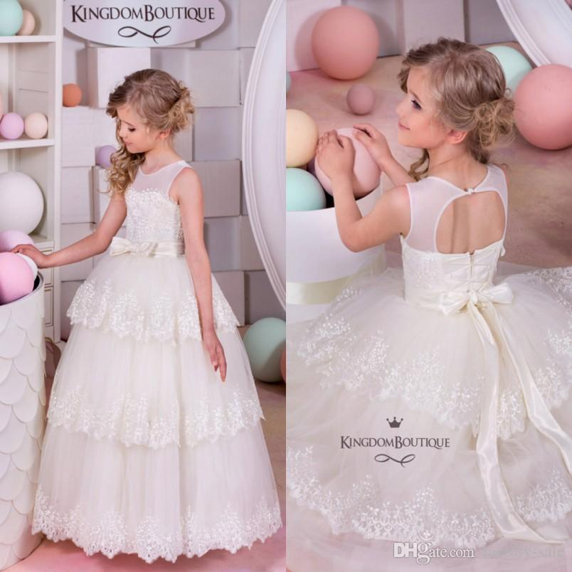 Layered Cupcake Style Girls Formal Dresses 2016 Jewel Neck Ball Gown