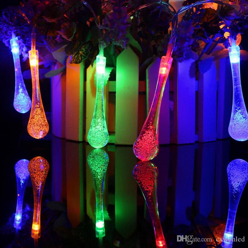 Led Noel Işıkları Işık Dize Ampuller Yeni 2 m 20 su damlası Topu Sıcak Beyaz RGBY LED Dize Düğün Parti Peri Noel
