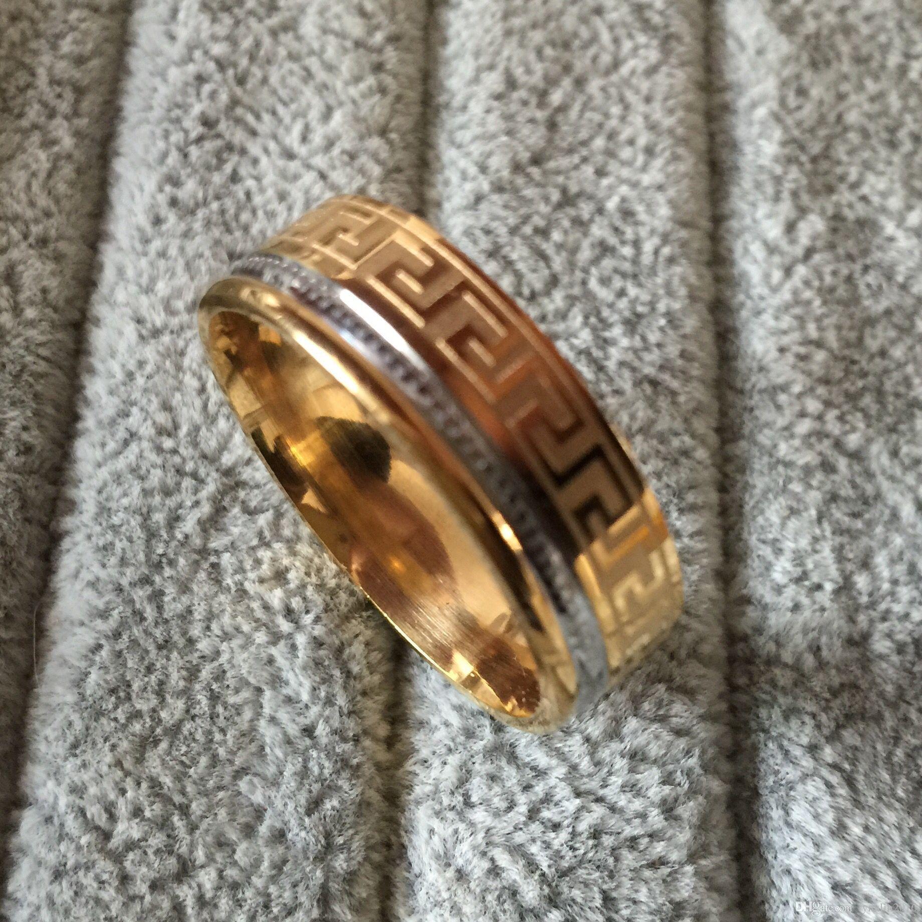 Luxus große breite 8mm 316 Titan Stahl 18 Karat Gelbgold vergoldet griechischen Schlüssel Ehering Ring Männer Frauen Silber Gold 2 Ton