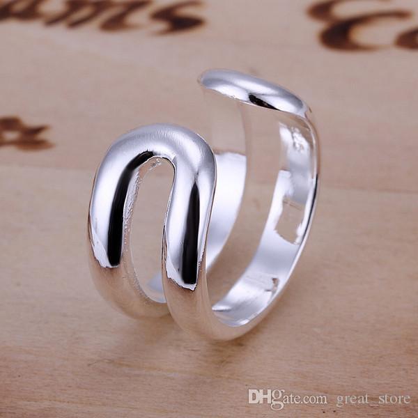 горячая продажа две линии стерлингового серебра кольцо GR038,женщин 925 серебро Rrings обручальные кольца