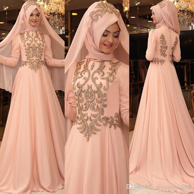edd21a3612 Muslim Chiffon Evening Dresses High Neck Long Sleeves Gold Appliques Saudi  Arabia Prom Dress A Line Floor Length Formal Party Gowns Vestidos Evening  Dress ...