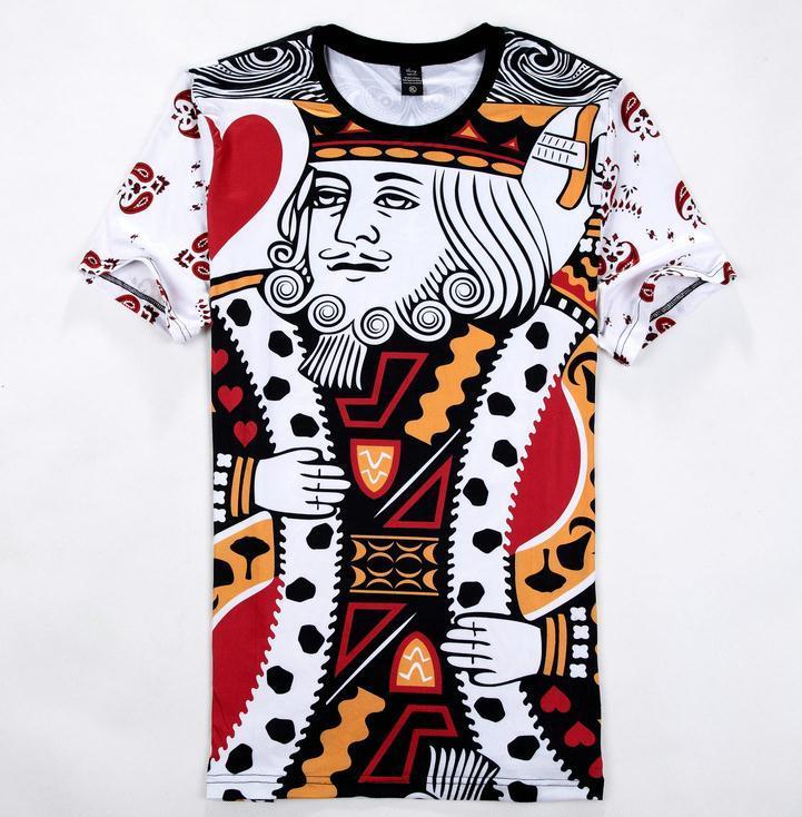 eb8047844d8d4 Compre W9818 Verão Estilo Hip Hop T Shirt Homens   Mulheres Jogando Cartões  De Impressão 3d T Shirt Harajuku Roupas Camisa Masculina Tamanho M XXL  Frete ...