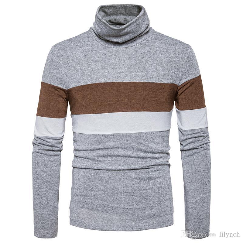 Brand clothing 2017 autumn new Slim high collar men sweater striped hedge British men's bottom shirt hit color long sleeve